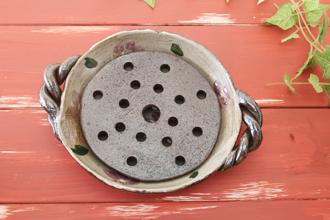 益子焼 陶芸体験 手びねり体験 冷や奴 小鉢 水切り皿 ハンドル 取って