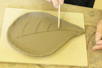 陶芸体験 手びねり体験 益子焼 葉っぱのお皿 オリジナル