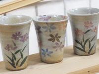 陶芸体験 焼き上がり 白い器シリーズ にミヤコワスレ