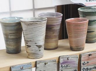 陶芸体験の焼き上がり作品 絵柄 全体ハケ目シリーズ