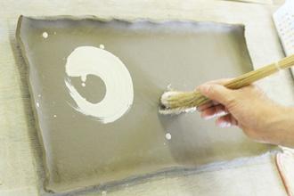 益子焼 まな板皿 大皿 手びねり 陶芸体験